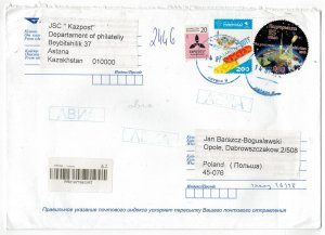 Kazakhstan 2019 Registered Cover to Poland Stamps Space Sport Expo Future Energy