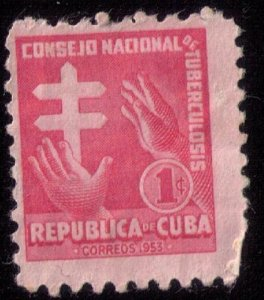 CUBA (1953) Sc #RA21 MLH HANDS REACHINGBob Fine