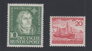 Germany Sc 689-690 MNH. 1952 Martin Luther & 1952 Freighter, 2 cplt sets, VF