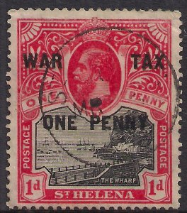 St Helena 1916 KGV 1d + 1d Ovpt War Tax  used SG 87 ( K1357 )