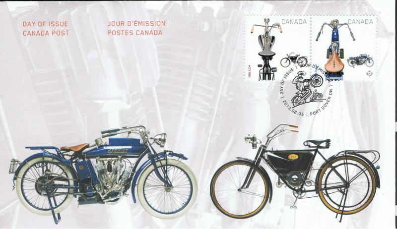 CANADA 2013 MOTORCYCLES - MINI SHEET,BOOKLET,PRE STAMPED CARD & FIRST DAY COVER