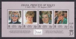 BRITISH ANTARCTIC 1998 Princess Diana S/S; Scott 258, SG 280; MNH