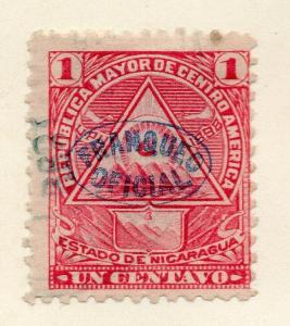 Nicaragua 1898 Early Issue Fine Used 1c. Official Optd 323801