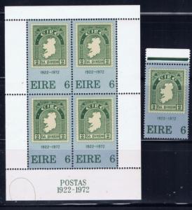 Ireland 326-26a NH 1972 Stamp and souvenir sheet