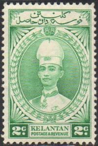 Kelantan 1937 2c green MH