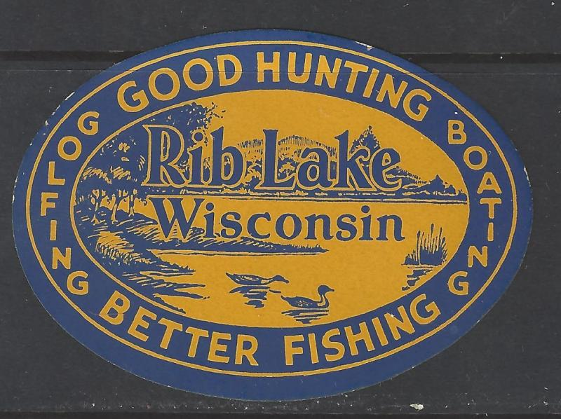 Vintage Rib Lake, WI - Fishing, Hunting, Golfing Promotional Poster Stamp (AW58)