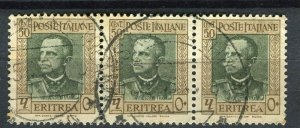ITALY; ERITREA 1935 early Emmanuel issue fine used 50c. strip of 3