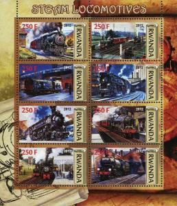 Rwanda Steam Locomotive Train Transportation Souvenir Sheet of 6 Stamps Mint NH