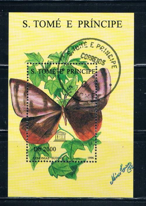 St Thomas and Prince Islands 1279 Souvenir Sheet Used Butterflies (S0151)