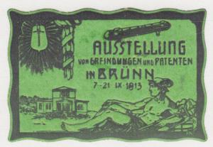 Germany, 1913 green Publicity Label for  Invention & Patent Exhibition in Brünn