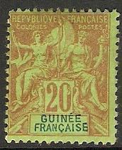 1892 French Guinea Scott 9 Navigation & Commerce MLH