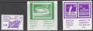 Great Britain 1971 Postal Strike Stamps. Europa and Germany, 3 Different