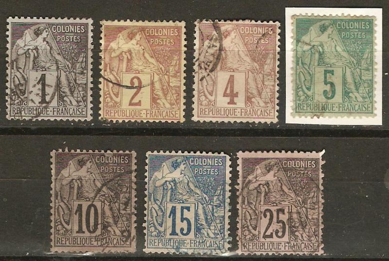 French Colonies 7 Diff Used F/VF 1881-6 SCV