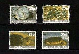 ASCENSION - 2000 - TURTLES - TURTLE PROJECT - MARINE - GREEN ++ MINT - MNH SET!