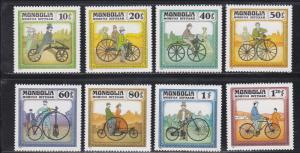 Mongolia MNH 1233-40 Historic Bicycles 1982
