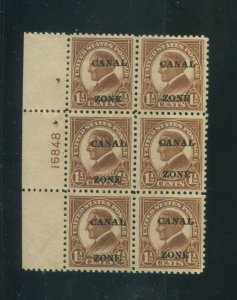 1924 Canal Zone Panama Postage Stamp #72 Mint VF Plate No. 16848 Block of 6