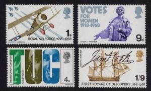 Great Britain  #564-567 1968 MNH Pankhurst , Electric Lighting , TUC