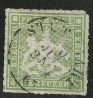 Germany State Wurttemberg Scott 41 Rouletted 10 nice color