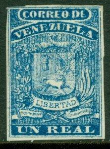 EDW1949SELL : VENEZUELA 1859 Scott #2 Mint, large part Original Gum. Cat $325.00