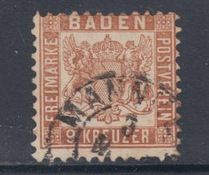 Baden Sc 23 used 1864 9kr brown Coat of Arms, MANHEIM cds