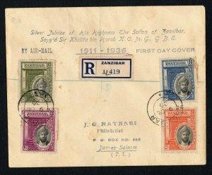 Zanzibar 1936 Silver Jubilee Sultan FDC cover - to Philatelist in Dar es Salaam