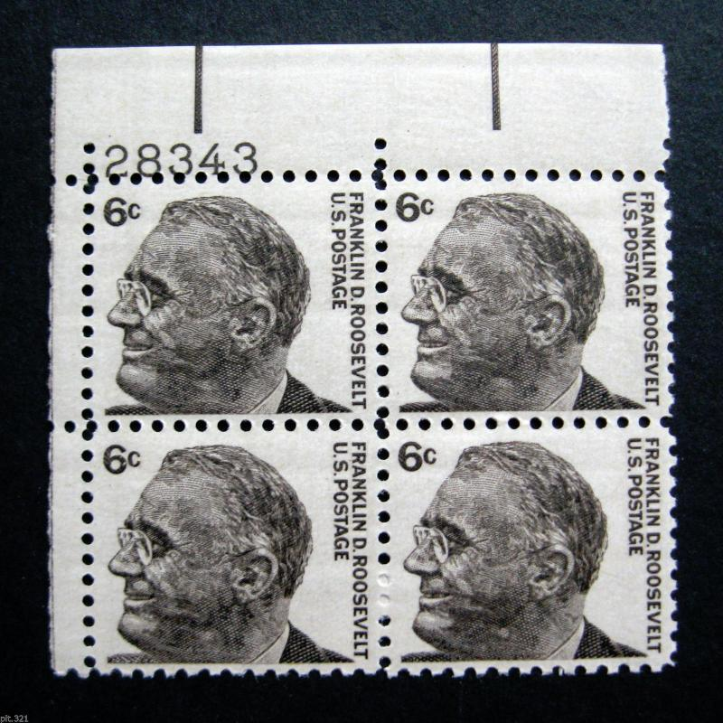Sc 1284 Plate Block 6 Cent Prominent Americans Franklin D