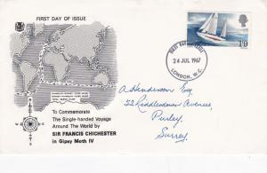 GB 1967 Francis Chichester Round The World Voyage Stuart FDC London ECCDS VGC