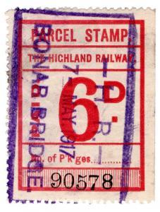 (I.B) The Highland Railway : Parcel Stamp 6d (Bonar Bridge)