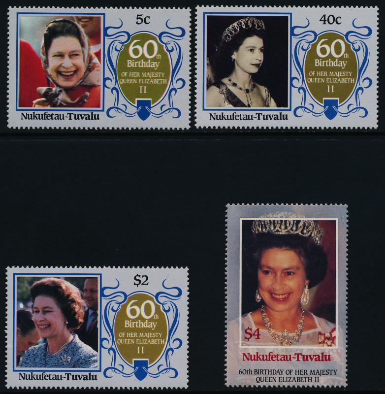 Tuvalu Nukufetau 51-4 MNH Queen Elizabeth 60th Birthday