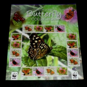 TOPICAL, BUTTERFLIES, ISLE OF MAN, 2011, SHEET/16, MNH, LOT #4, NICE,LQQK