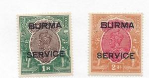 Burma, O11-O12, Official Stamps Singles,**LH**