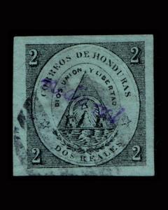 VINTAGE: HONDURAS 1877 USD,LHR SCOTT # 5 $ 150 LOT # HON1877B2