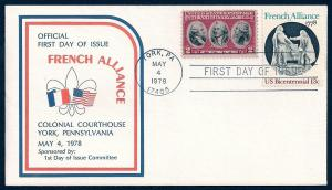 UNITED STATES FDC 13¢ French Alliance COMBO 1978 Cacheted
