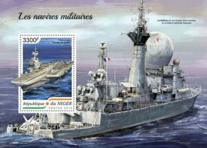 Niger - 2018 Military Ships on Stamps - Stamp Souvenir Sheet NIG18411b