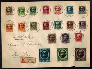 1920 Bamberg Bavaria Oversize Cover to Neu Ulm # 136-155 Full Set Scarce