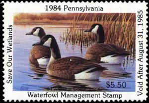 PENNSYLVANIA #2 1984 CANADA GEESE STATE DUCK STAMP by Jim Killen