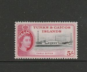 Turks & caicos islands 1957 5/- MM SG 249
