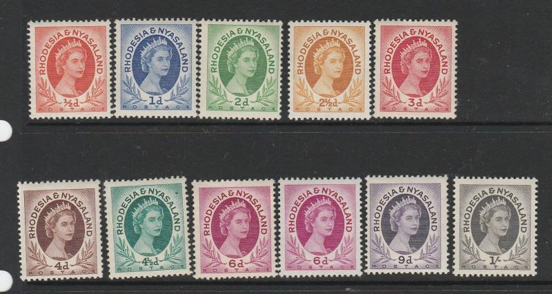 Rhodesia & Nyasaland 1954 short set to 1/- incl 6d listed shade UM/MNH SG 1/9 in