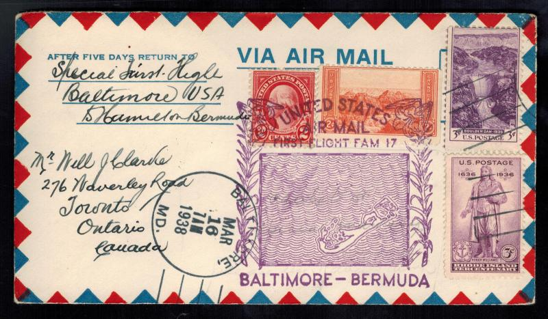 1938 USA first flight cover FFC Baltimore to Bermuda FAM 17 Clipper