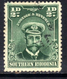 Southern Rhodesia 1924 - 29 KGV 1/2d Blue Green used SG 1 ( D1049 )