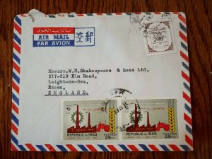VERY RARE IRAQ 1969 DEFENSE TAX STAMP COVER TO ENGLAND HARD TO FIND