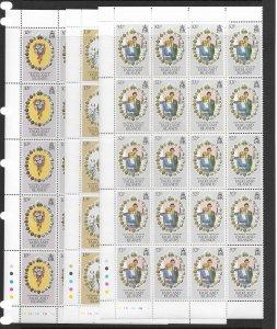 Falkland Is. 324-6 Princes Di MNH cpl. set x 20 vf, 2022 CV $33.00