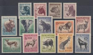 South Africa Sc 200-213 MLH. 1954 Wild Animals cplt, F-VF