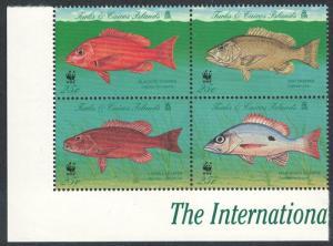 Turks and Caicos WWF Grouper Endangered Species 4v Block of 4v SG#1479-1482