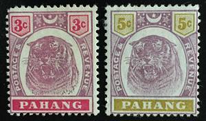 Malaya Pahang 1895 Tiger 3c & 5c MH SG#14 & 16 CV£68 M2016