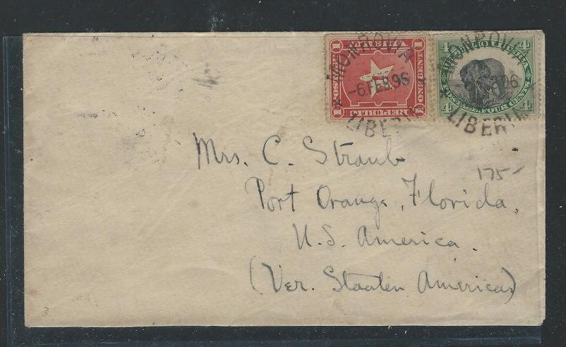 LIBERIA (P0912B) 1896 4C ELEPHANT +1 COVER MONROVIA TO USA