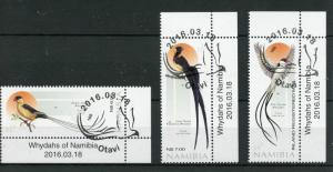 Namibia 2016 CTO Whydahs of Namibia 3v Set Birds Shaft-Tailed Whydah Stamps