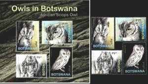 Botswana 2020 birds of prey owls set+s/s MNH