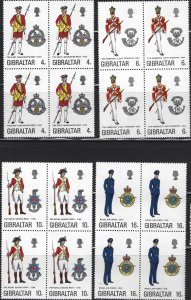 Gibraltar #310-3, Set of 4 in blocks of 4, MNH