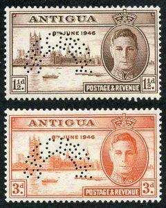 Antigua SG110s/11s 1946 Victory pair perf SPECIMEN M/M